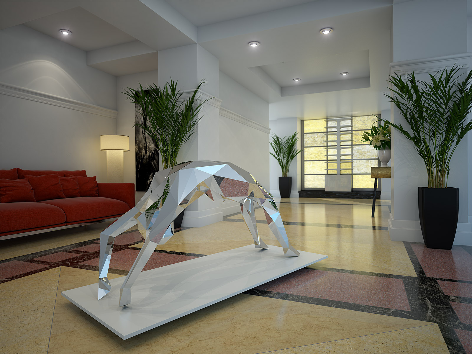 A photo-realistic 3d render of a sculpture inside a hotel lobby area, created by 3drenders.co.uk using 3DS Max and V-Ray.