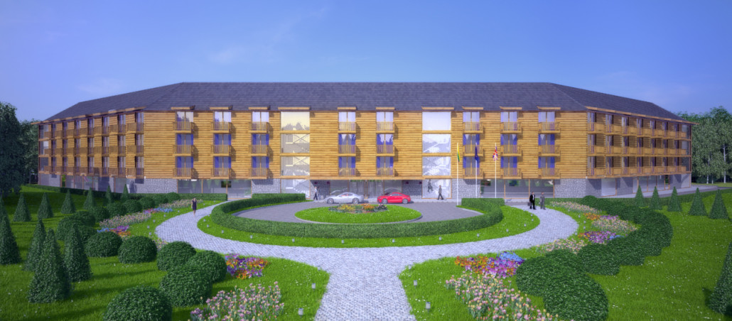 An architectural exterior 3d rendering for a new hotel. 3d render created using 3ds Max and V-Ray by 3drenders.co.uk.