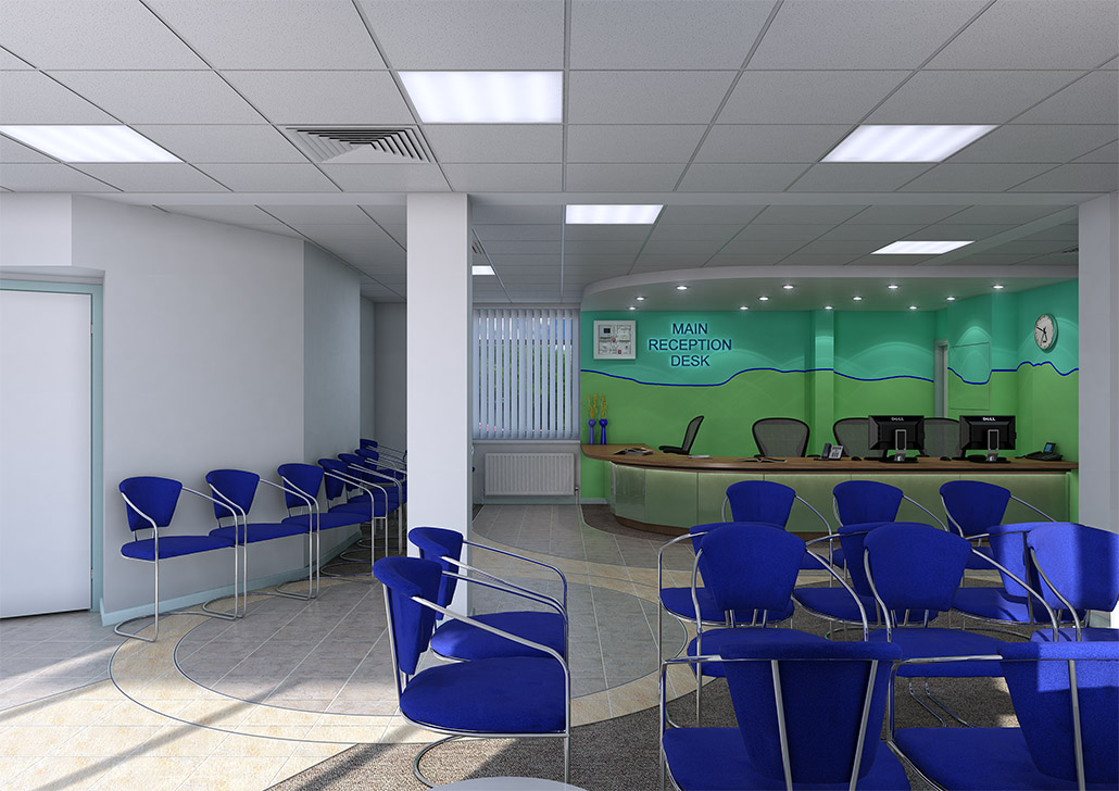 A 3d visual of a reception area for a council office, created by 3drenders.co.uk using 3ds Max and V-Ray.