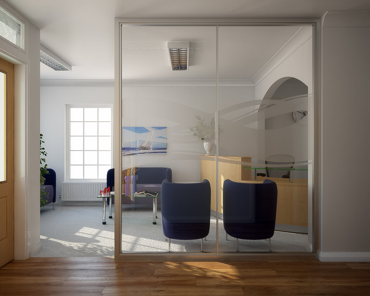 A highly photo-realistic 3d render of an office reception area. 3d visual created using 3ds Max and V-Ray by 3d-renders-co-uk.